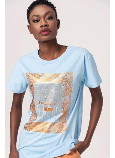 Coral Taşlı Desenli Garnili T-Shirt Bebe Mavi Mavi